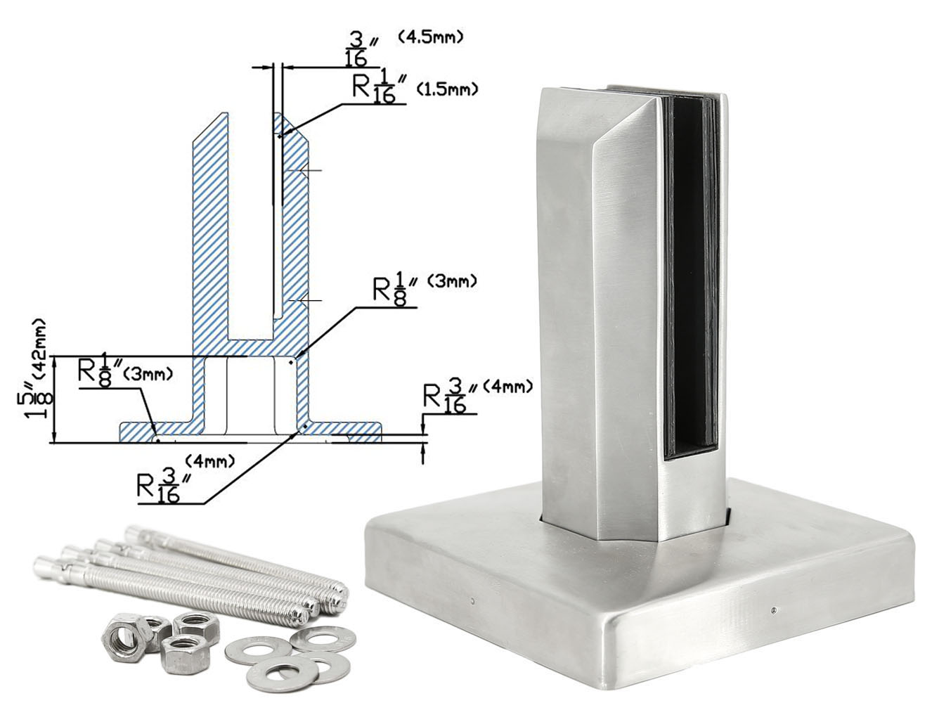 Stainless Steel 2205 Square Frameless Pool Glass Fence Windscreen Spigot Class Clamp for 3 8″ 3 4″ Glass