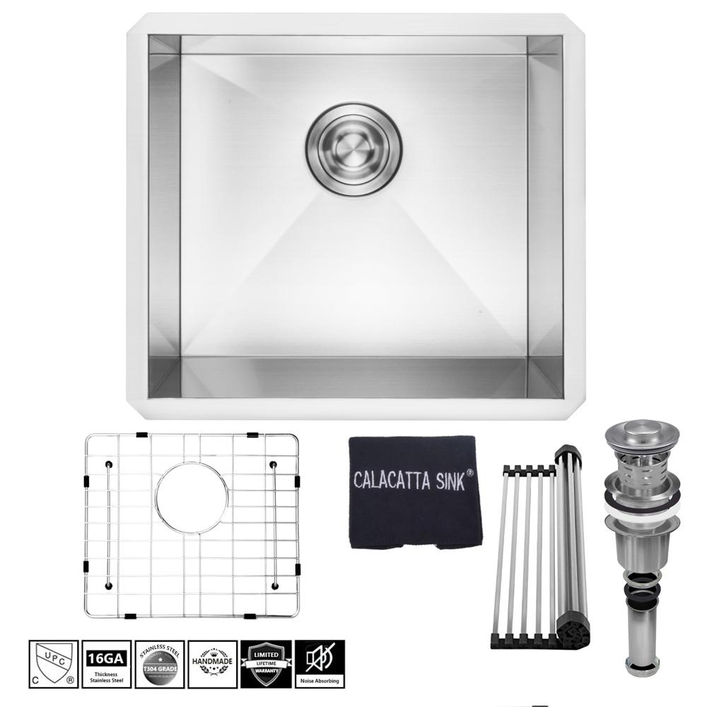 Top Hardware Undermount Single Bowl W Drain Strainer Grid Dish Cloth