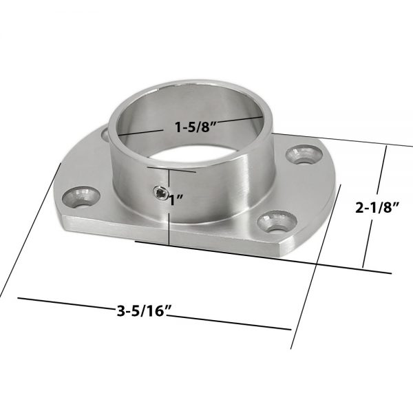 Stainless Steel 316 Grade 4/″ x 4/″ Base Flange Cover and Flange Base for 2/″ x 2/″ Post Fitting 1-3//16/″ High